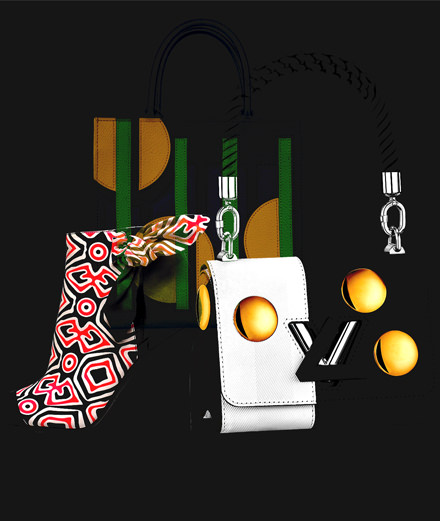 Accessories with geometric patterns by Louis Vuitton, Graf Paris and Stella Luna