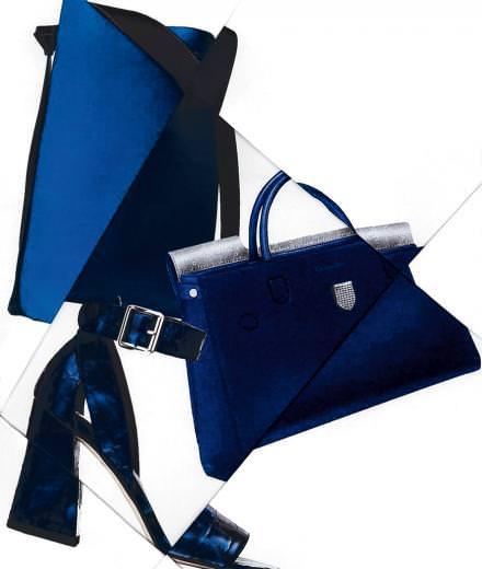 Les accessoires bleus de Céline, Christian Dior et Stuart Weitzman