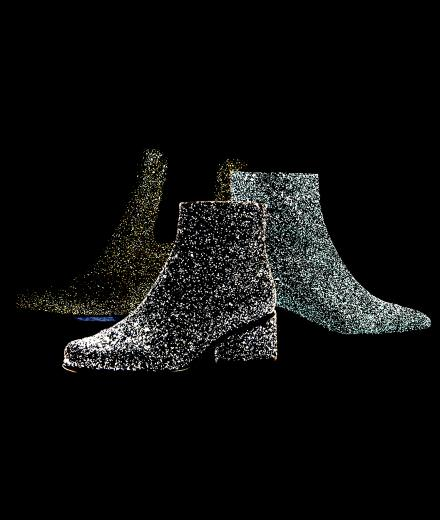 The glitter boots from Carel, Hogan and Marc Jacobs