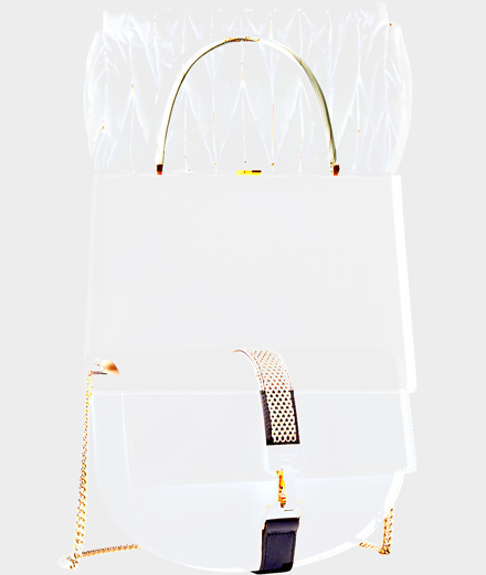 White accessories signed by Céline, Lanvin and Miu Miu