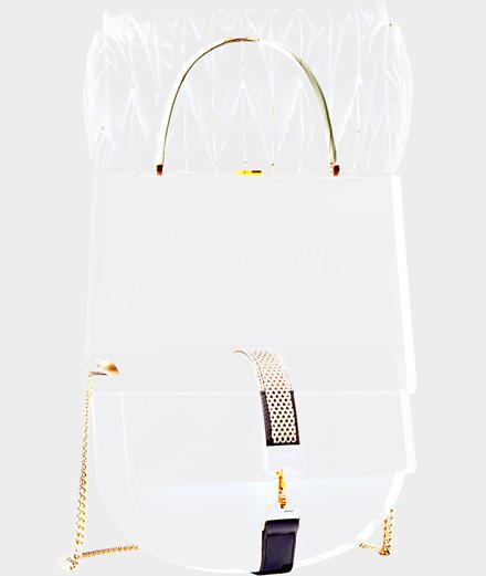White accessories signed by Céline, Lanvin and Miu Miu