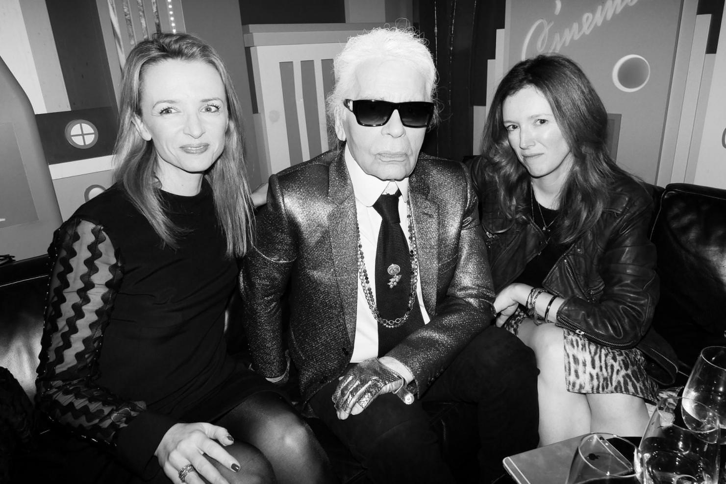 Delphine Arnault, Karl Lagerfeld and Clare Waight Keller