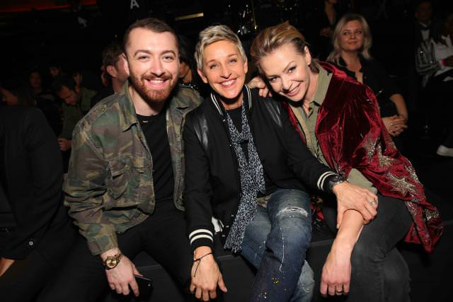 Sam Smith, Ellen Degeneres and Portia de Rossi