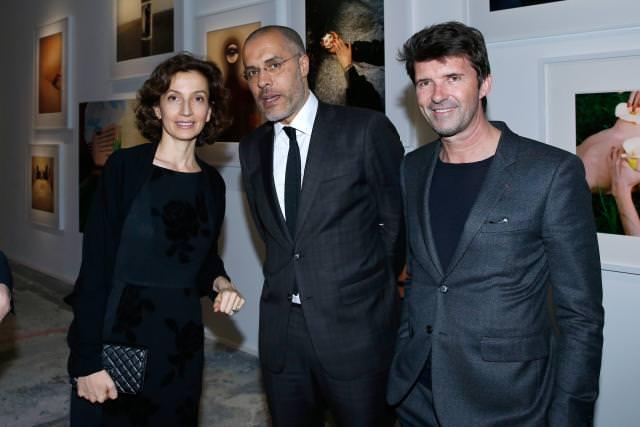 Audrey Azoulay, Kamel Mennour et Paul-Emmanuel Reiffeirs