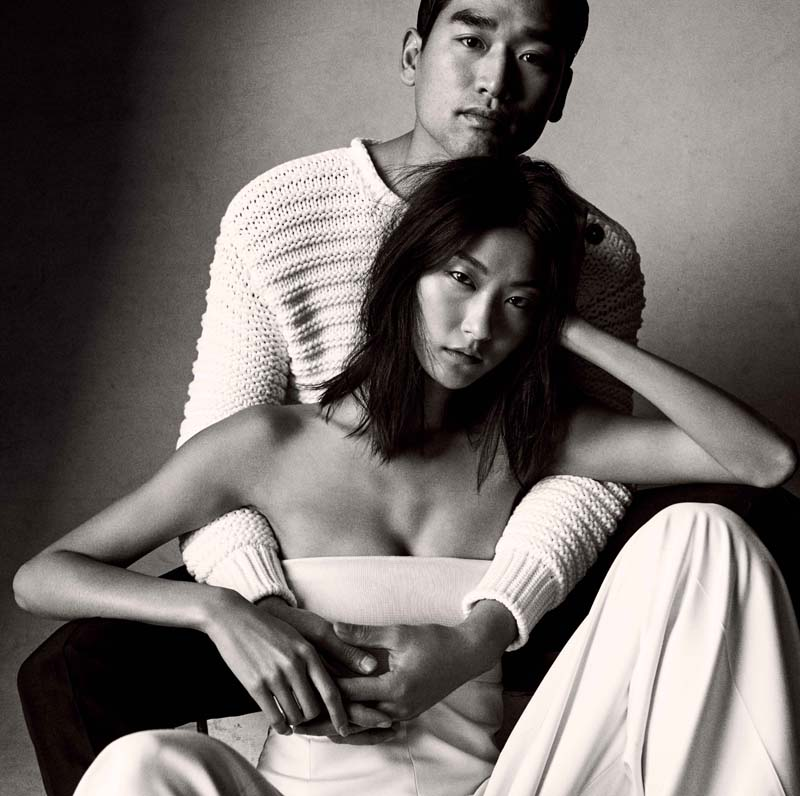 Jun Hoya Choi: coton jumper and wool trousers, HERMES. Ji Hye Park: silk suit,HERMES.
