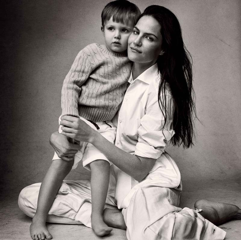 Luca: cashemere jumper and cotton shorts, RALPH LAUREN ENFANT. Missy Rayder: cotton shirt and flax trousers, RALPH LAUREN COLLECTION.